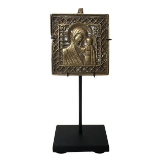 Mid 19th Century Antique Mounted Icon For Sale
