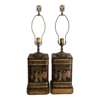 Wildwood Chinoiserie Tea Caddy Table Lamps - a Pair For Sale