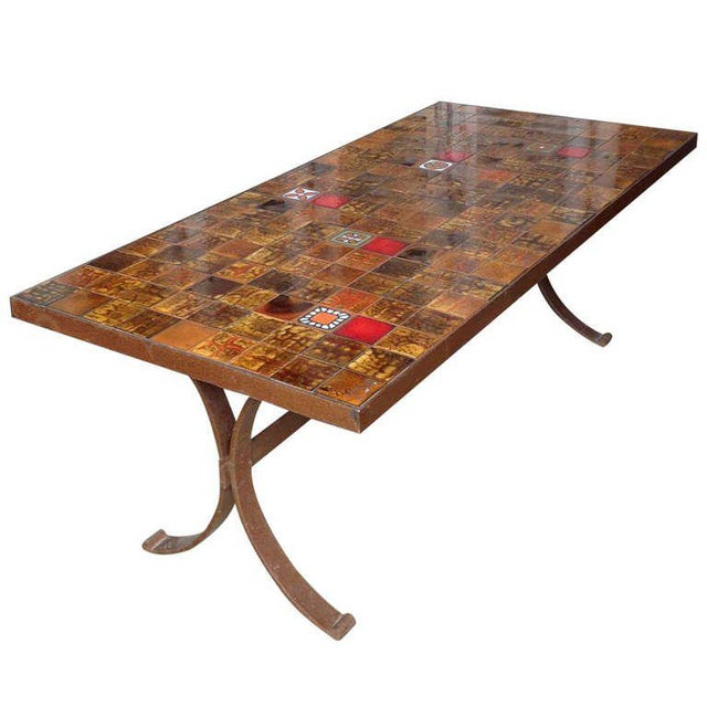 French 1960s Dining Table With Ceramic Tiled Top - Image 11 of 11