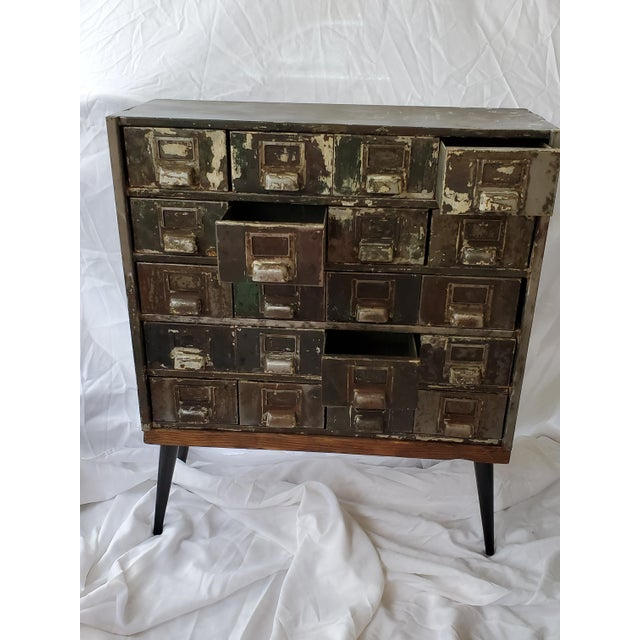 Mid-Century Modern Mid Century Metal Card Catalog Upcycled Hall Table For Sale - Image 3 of 12