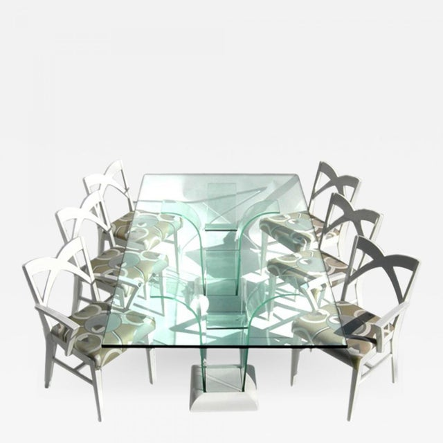 Modernage Glass Dining Table With Chairs For Sale - Image 9 of 9