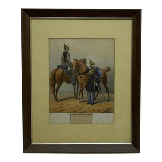 """Vintage 1842 """"Garde Imperiale"""" Hand-Colored Framed & Matted Print For Sale"""