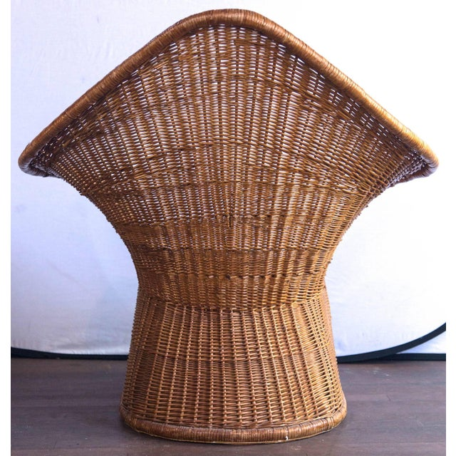 Vintage Mid Century Triangular Wicker/Rattan Armchair and Ottoman For Sale - Image 11 of 17
