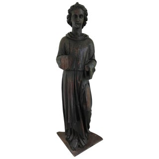 Large 17th Century, French Carved Pinewood Angel Statue