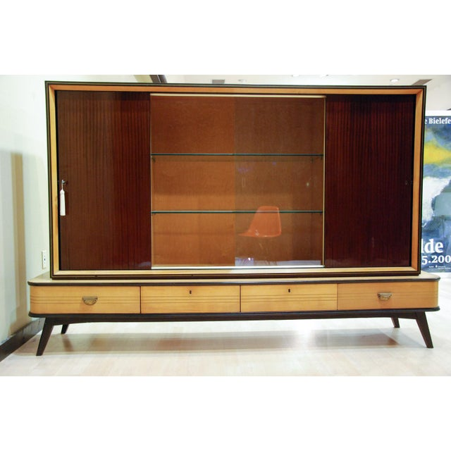 Mid-Century Modern Circa 1950 Large German Exotic Wood and Glass Bar/Display Cabinet, Germany For Sale - Image 3 of 8
