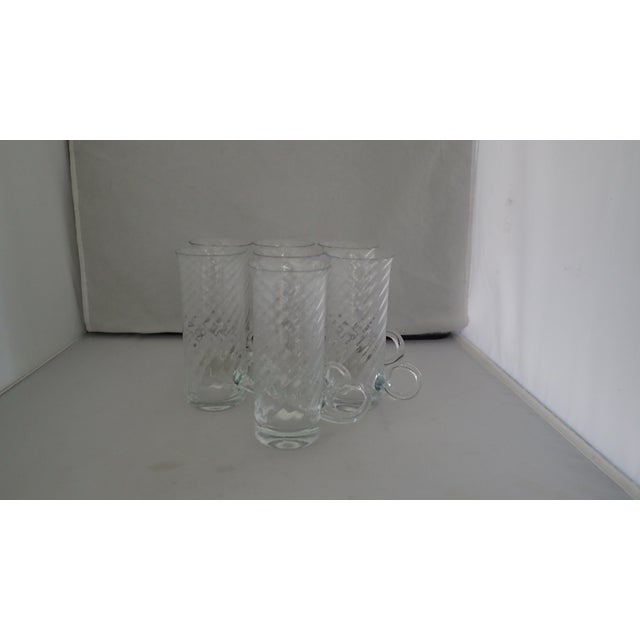 Vintage Fine Glass Set of Seven Irish Coffee Clear Glasses Mugs With Swirl Patten, No Makers Mark. Condition is excellent...