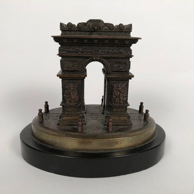 Gold Small Grand Tour Bonze Architectural Model of the Arc De Triomphe in Paris For Sale - Image 8 of 11