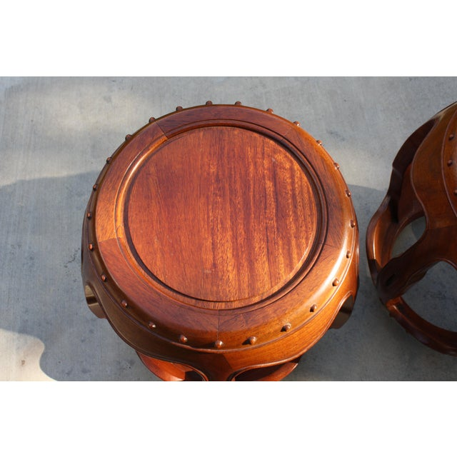 Vintage Asian Rosewood Drum Stools - A Pair - Image 7 of 11