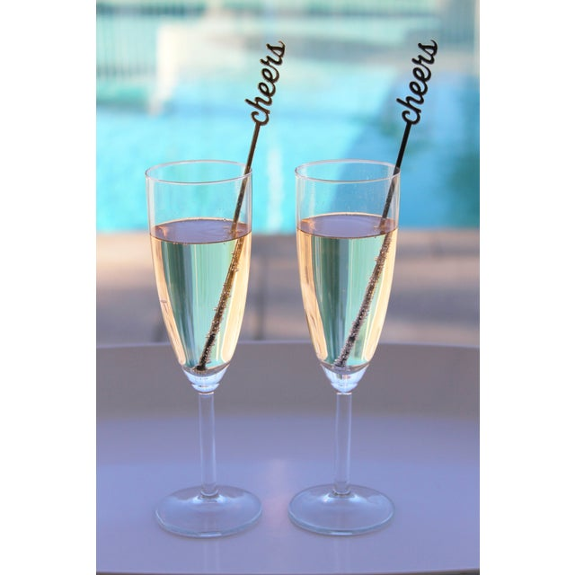 Black & Silver Glitter Cheers Drink Stirrers - S/6 - Image 2 of 4