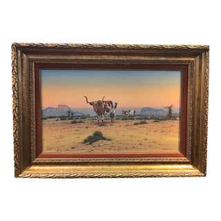 1970s Arturo Mercado Mixed-Media Painting of West Texas Longhorns in a Desert Landscape, Framed For Sale
