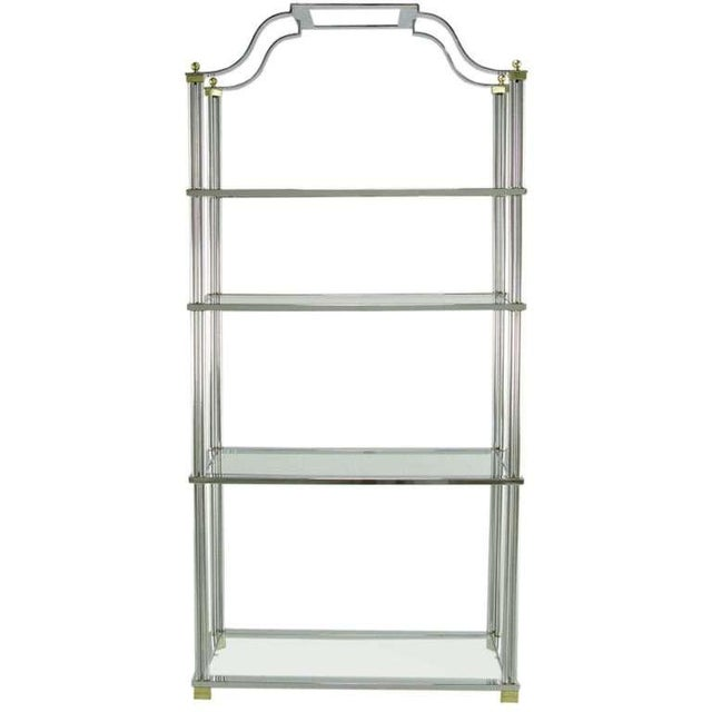 Gold Chrome And Brass Canopied Four-Shelf Etagere For Sale - Image 8 of 8