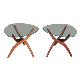 1960's Mid-Century Modern Forest Wilson Sculptural Walnut Side Tables - a Pair For Sale