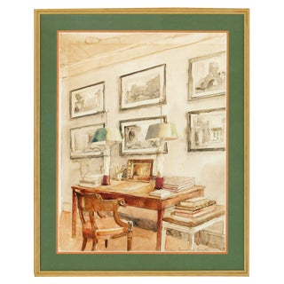 """Library Drawing Room Interior"" Watercolour by Allen Townsend Terrell For Sale"