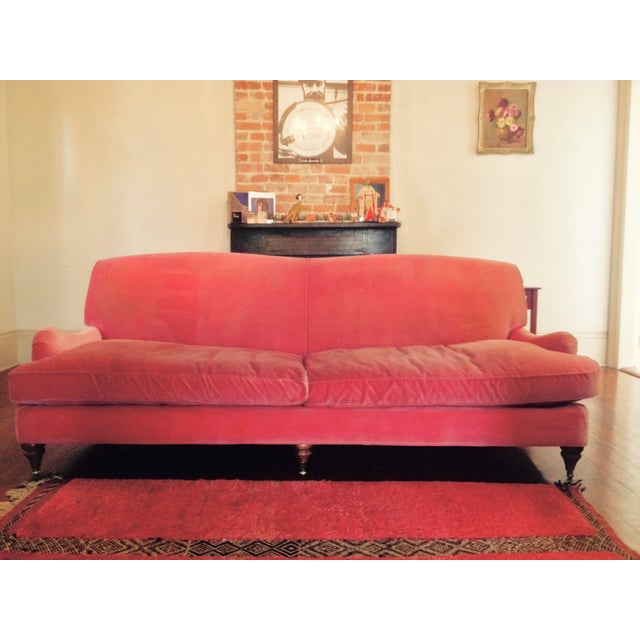 Anthropologie Large Pink Velvet Couch For Sale - Image 4 of 5