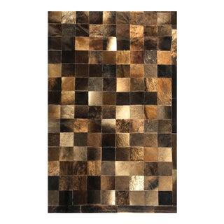 Handmade Dark Brown Cowhide Patchwork Area Rug - 8′ × 10′ For Sale