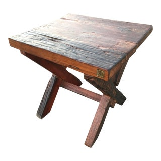 Reclaimed Teak Wood Side Table From Antique Vessel For Sale