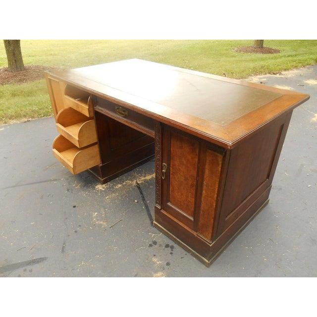 19th-C. Governor Winthrop Tiger Oak Desk - Image 4 of 9