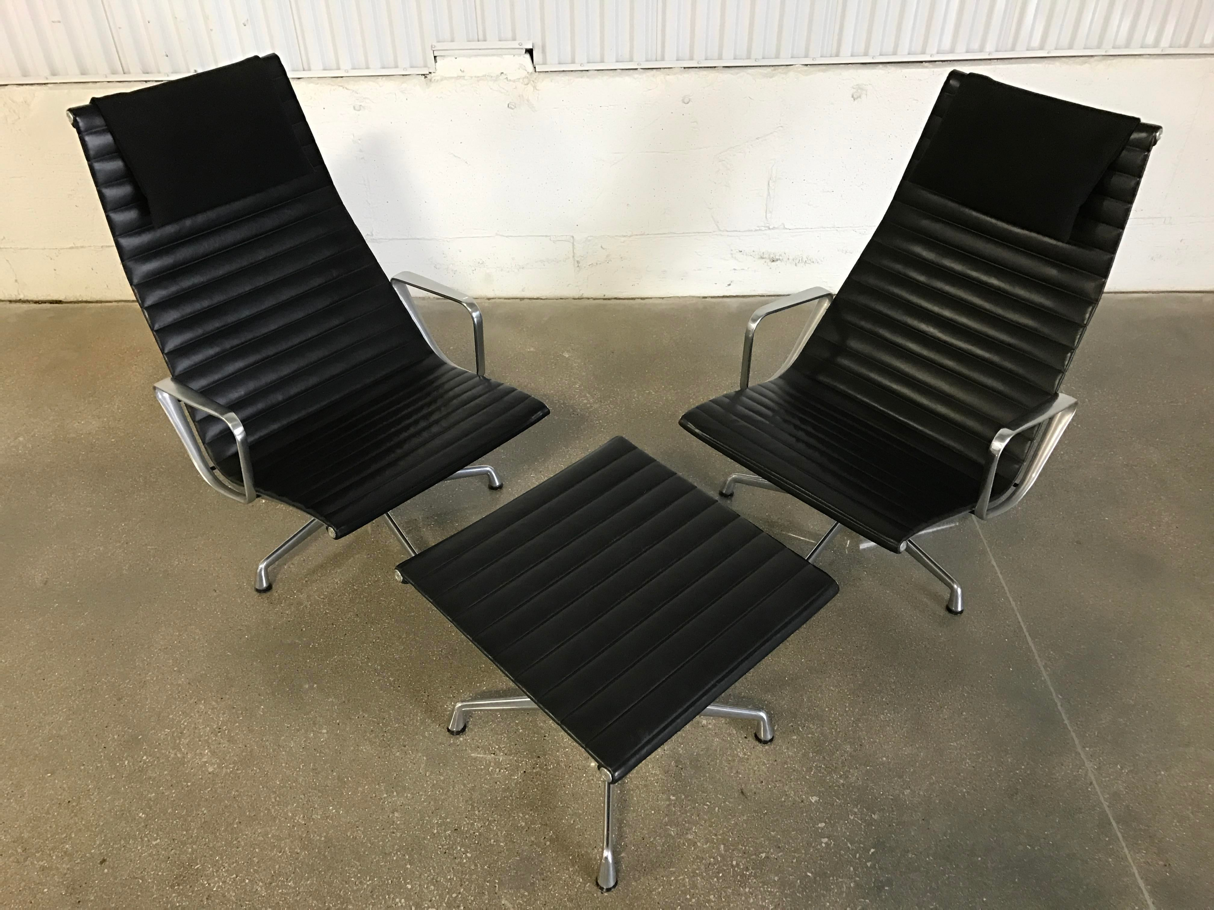 Vintage Herman Miller Eames Aluminum Group Lounge Chairs U0026 Ottoman   Set Of  3   Image