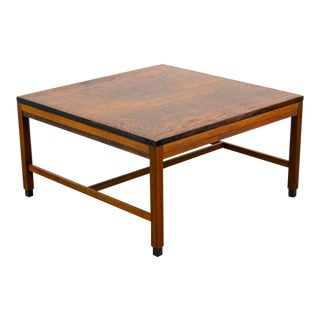 Kipp Stewart for Calvin Mid-Century Figured Walnut Coffee Table For Sale