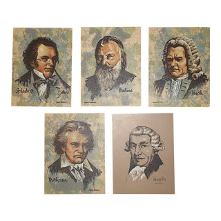 Vintage . Serigraphs-Listed American Artist-Music-Famous Composers-Set of 5 For Sale