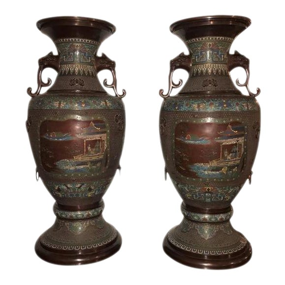 1930s Chinoiserie Lion Handled Vases or Urns - A Pair For Sale