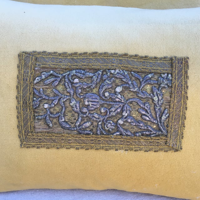 Metallic Embroidered Velvet Pillows - A Pair - Image 3 of 5