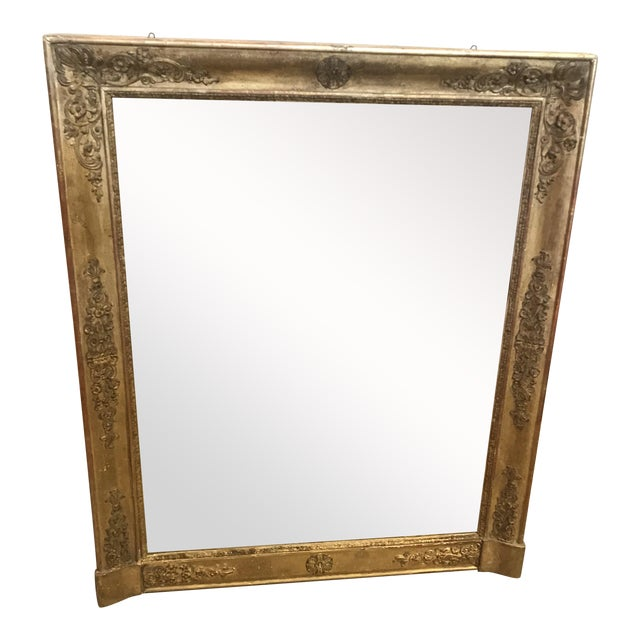 Large 19th Century French Empire Giltwood Mirror For Sale