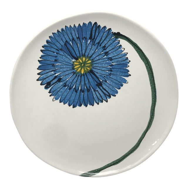 1980s Vietri Round Blue Flower Platter For Sale