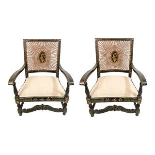 Antique Chinoiserie Arm Chairs - a Pair For Sale
