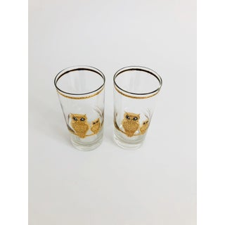 Mid Century Tall Gold Owl Tumblers by Culver - Set of 2 Preview