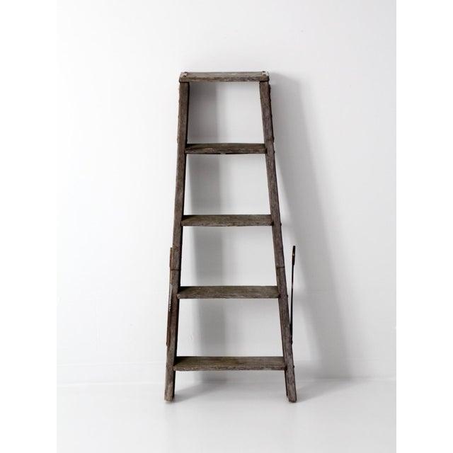 Vintage Wooden Folding Ladder For Sale - Image 5 of 11