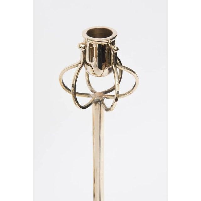 Pair of Rare Friedrich Adler Art Nouveau Polished Brass Candlesticks - Image 2 of 8
