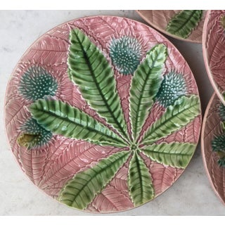 1880 Antique Salins Majolica Chestnut Leaves Plate Preview