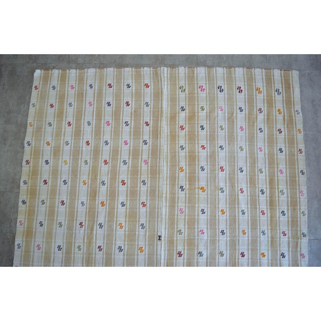 """Textile Vintage Anatolian Braided Rug Hand Woven Cotton Small Rug Sofreh - 6'8"""" X 8'6"""" For Sale - Image 7 of 11"""
