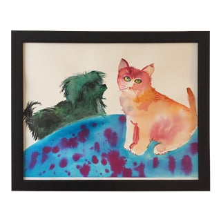 "Large ""He's Irritating!"" Cairn Dog & Ginger Cat Watercolor Painting For Sale"