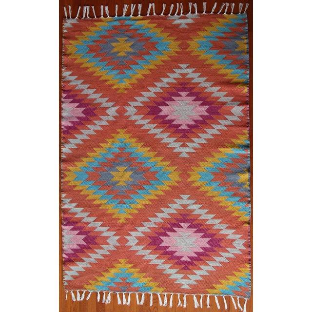 Rainbow Flat Weave Diamond Turkish Wool Kilim Rug - 4' x 6' - Image 2 of 12