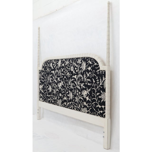 Upholstered Decorative Black and White Fabric King Size Poster Headboard For Sale - Image 4 of 12