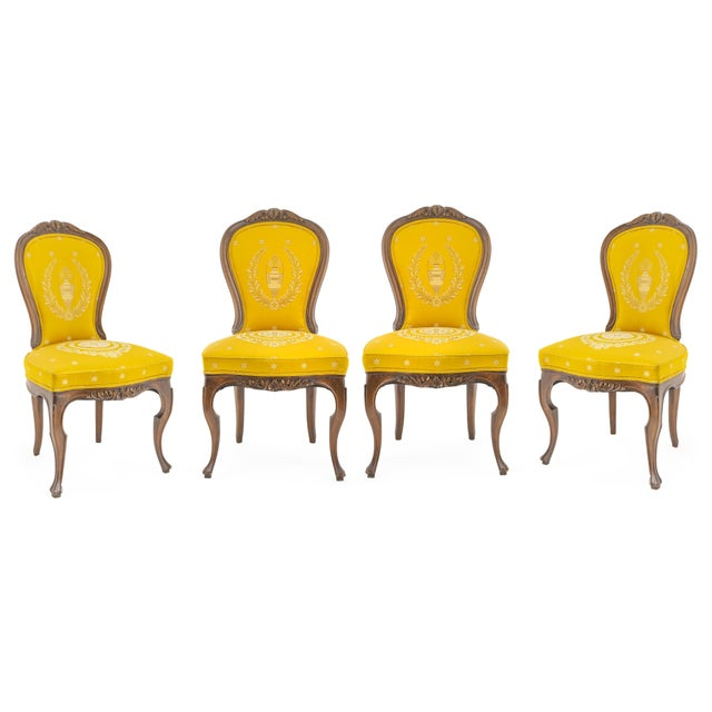 Antique French Rococo Style Walnut Side Chairs - Set of 4 For Sale - Image 4 of 4