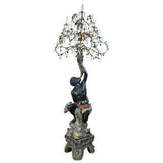 Early 20th Century Superior Venetian Carved Paint and Parcel-Gilt Blackamoor Torchiere Candelabra