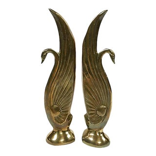 Brass Swan Bookends For Sale