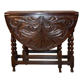 18th C Carved Oak Gateleg Table For Sale
