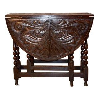 18th Century Carved Oak Gateleg Table For Sale