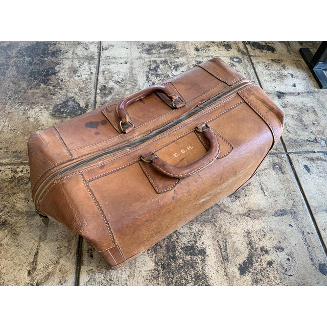 Leather Vintage Leather Luggage Bag For Sale - Image 7 of 11