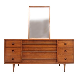 Mid Century Modern Basset Furniture Industries Long Dresser and Mirror For Sale