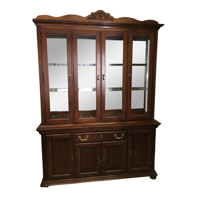 Kitchen Cabinets Sets For Sale: Vintage Broyhill Cherry China Cabinet