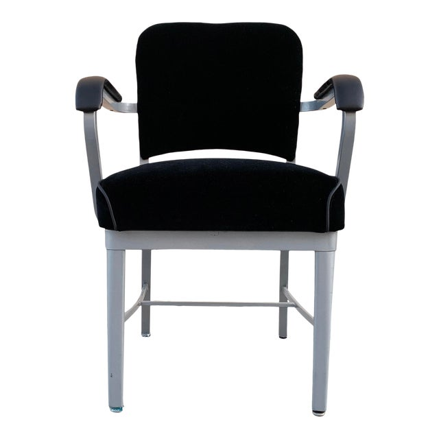 Mid Century Steel Tanker Armchair, Refinished in Bengal Silver and Black Velve For Sale