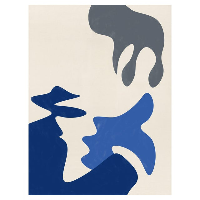 Mid-Century Modern Abstract Biomorphic Unframed Print in Blue and Gray 24 X 30 For Sale