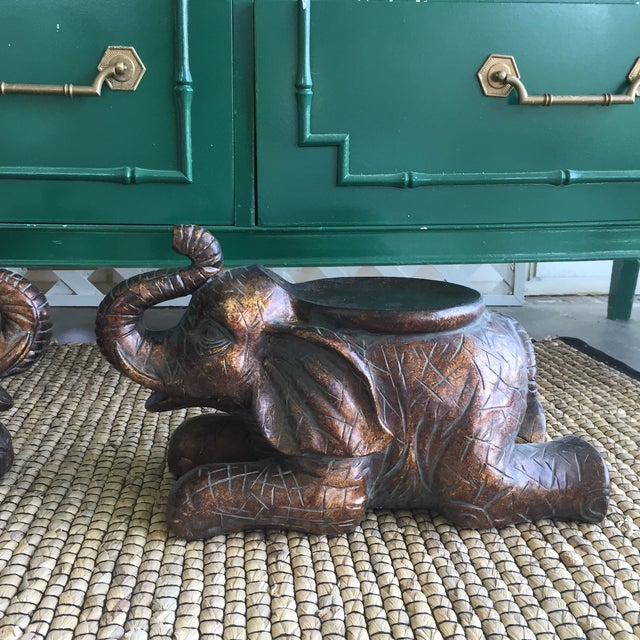 Large Elephant Trunks Up Pillar Candle Holders/Planter Stands - Set of 2 - Image 5 of 11