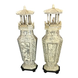 Shou Xin Gong, Chinese Power of Longevity Tiled Towers - a Pair For Sale