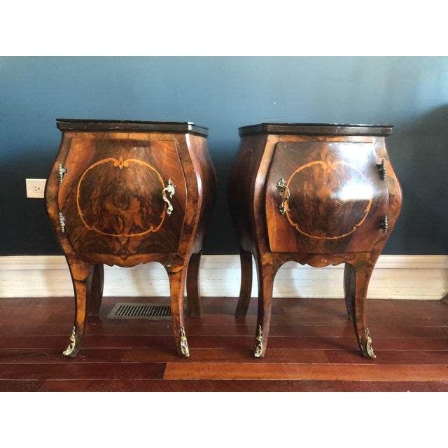 Circa 1930's Louis XV Style Bombe Nightstands With Inlay Marquetry and Ormolu Ornamentation- Pair For Sale - Image 12 of 12